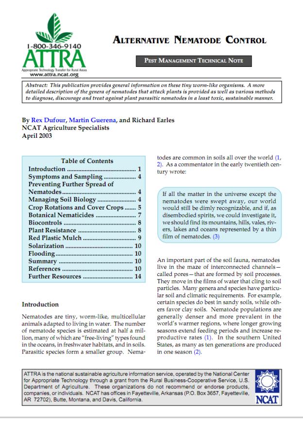 Alternative Nematode Control