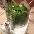 Processing basil for pesto